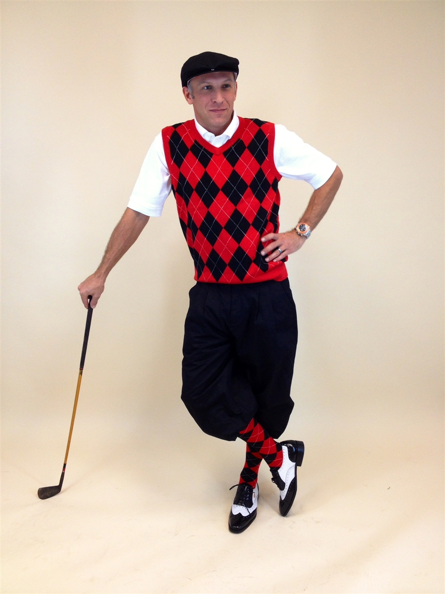 Men's Golf Knickers Outfit - BlackRedWhite Overstitch