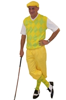 Men's Golf Outfit-Yellow Knickers and Flat Cap with Chartreuse Argyle