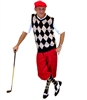 Men's Golf Outfit - Black/Khaki/Red Overstitch w/Red Knickers