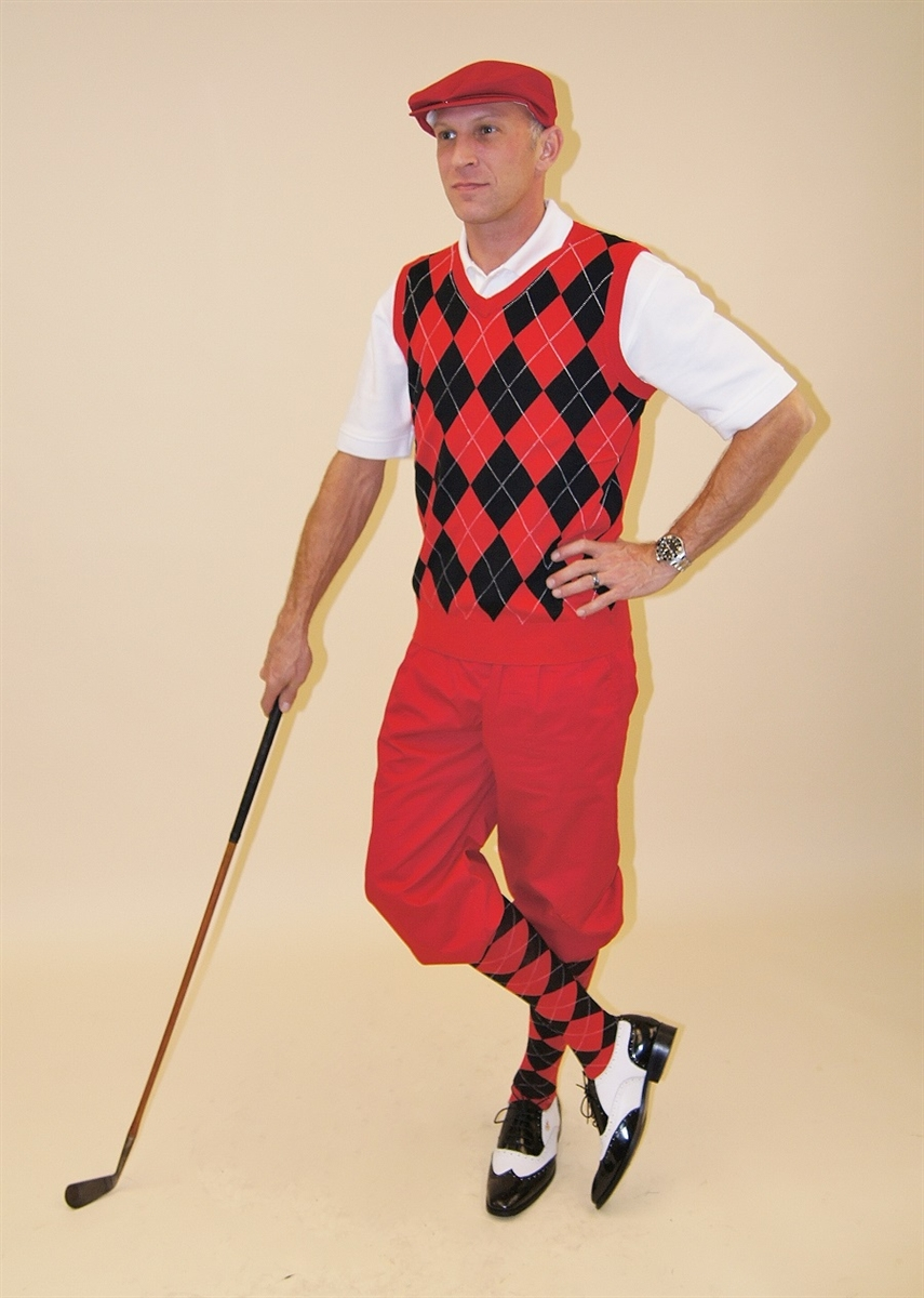 Men's Golf Outfit-Red Knickers Cap, Argyle Sweater, Sock