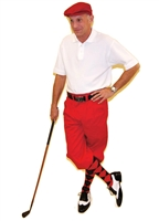 Men's Golf Outfit - Red Knickers Flat Cap Red Black Argyle Socks and Polo