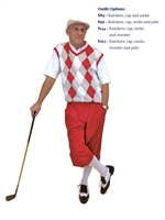 Men's Golf Outfit - Red/Khaki/White/White Overstitch