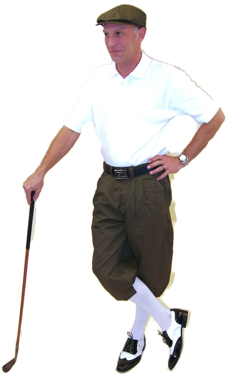 Men s Golf Outfit - Military Green with Flat Cap and White Polo and Socks cb7c6c5d2948