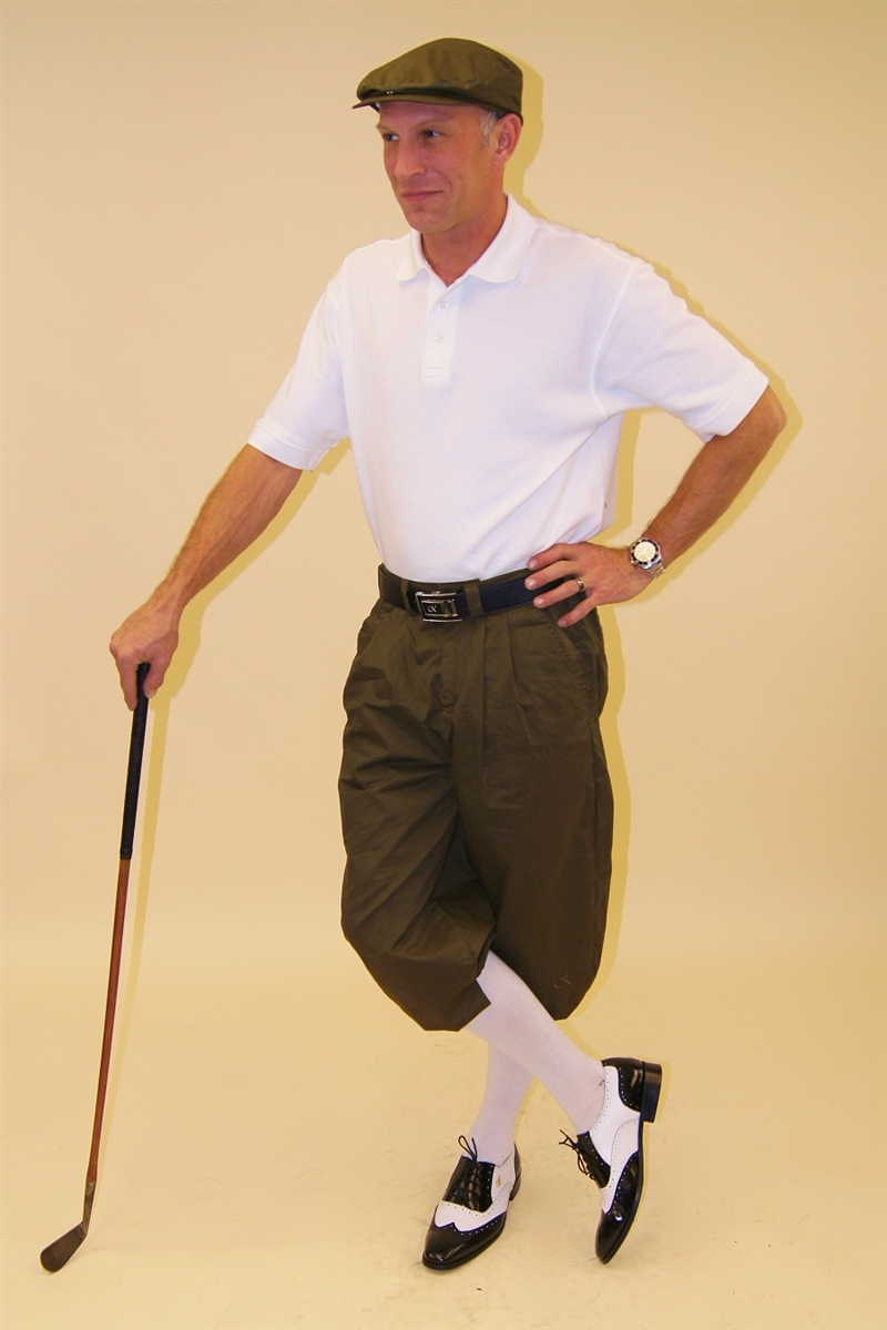 ee5f476f0 Men's Golf Knickers Outfit - Military Green with Flat Cap, Socks and White  Polo
