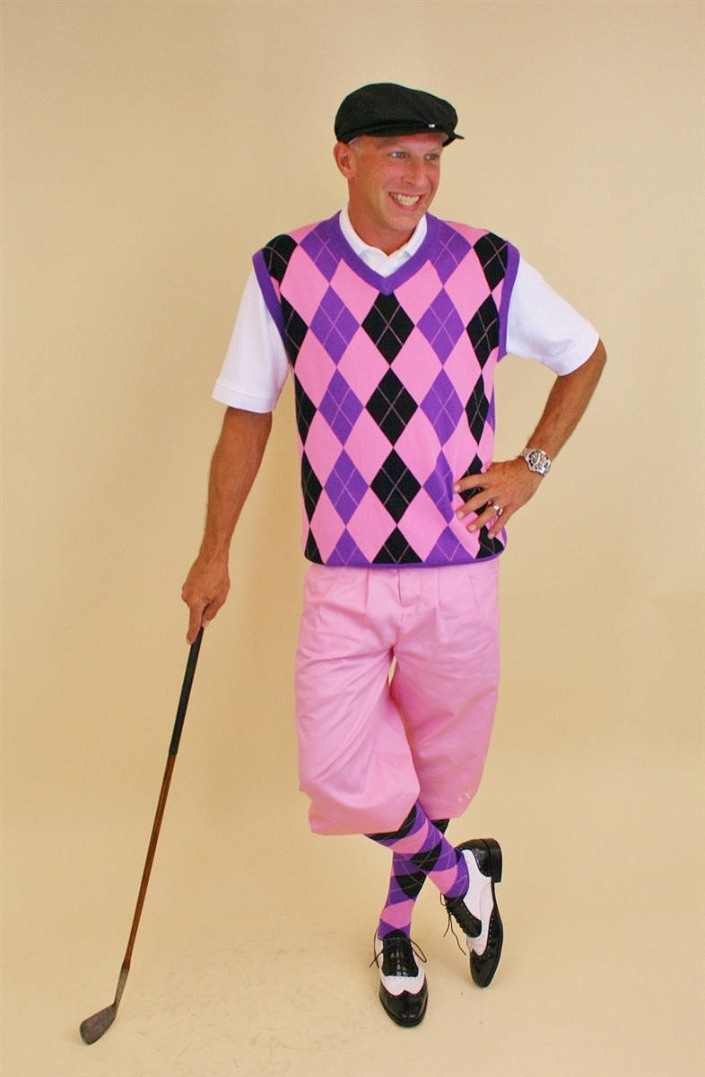 Men's Golf Knickers Outfit - Pink with Pink Black Purple