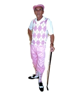 Pink and White Golf Knickers Complete Outfit complete with Pink Knickers matching Cap, Pink and White Argyle Sweater Vest and matching Socks.