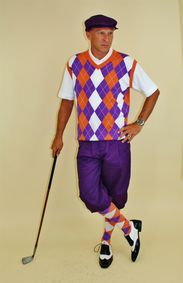 Men s Golf Outfit - Purple Knickers with Orange Purple White Sweater and  Socks afc8b2fcb82a