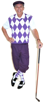 Purple and White Complete Golf Knickers Outfit