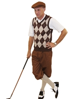 Men's Golf Outfit-Brown Knickers and Flat Cap with Brown and Khaki Argyle Sweater and Sock