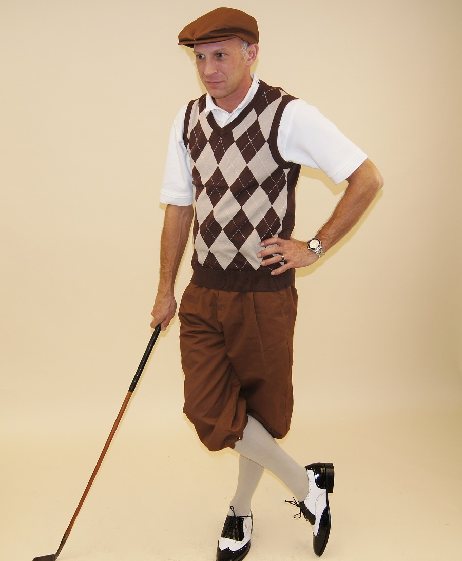 Mens Golf Outfit-Brown Knickers and Flat Cap with Brown and Khaki Argyle  Sweater and Sock 6a6b5663590