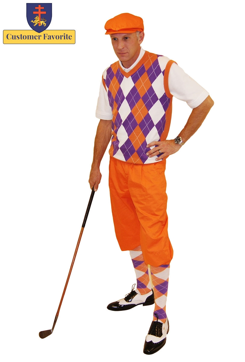 Mens Golf Outfit Orange Knickers With Purple White