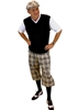 Men's Golf Outfit - Khaki Turnberry Plaid w/Optional Black Sweater