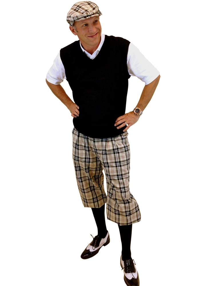 7e74da24 Men's Golf Knickers Outfit - Khaki Turnberry Plaid, Sweater