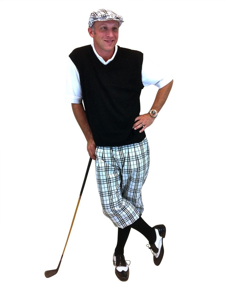 1720a5f9841c Men's Golf Outfit - White/Black/Pink/Light Blue Overstitch w/Black