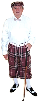 Maroon Plaid Knickers with White Dress Shirt  By Kings Cross