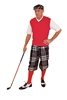 Men's Golf Outfit-Black Plaid Knickers and Flat Cap with Red sweater and Socks