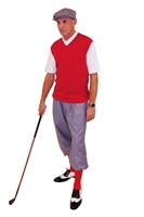Men's Golf Outfit-Silk Touch Grey Knickers and Cap With red Sweater and Socks