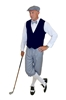 Ultimate golf Knickers outfit with grey knickers and cap Navy Plaid Vest, and bow tie.
