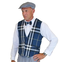 Men's Navy Plaid Golf Vest