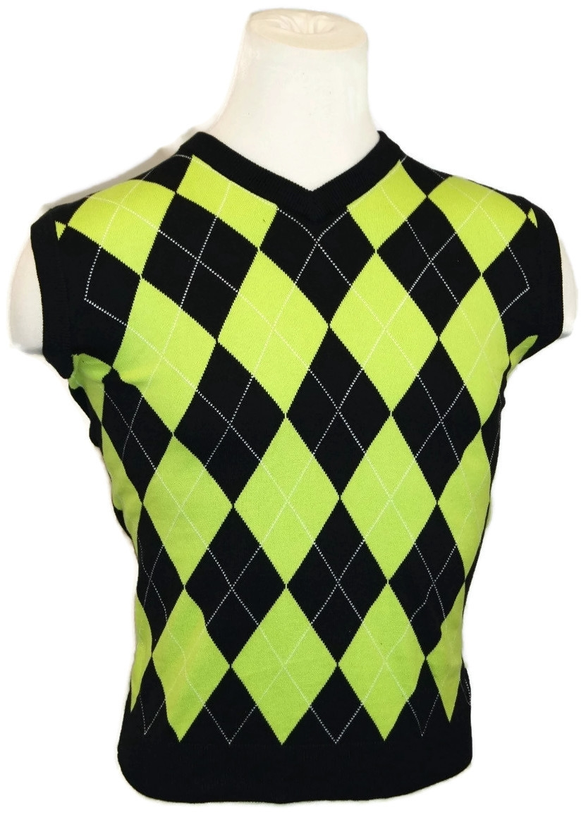 Black Lime Green Golf Sweater Vest