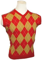 Red and Gold Argyle Golf Sweater Vest