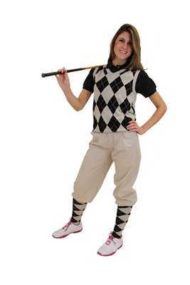 Women's Golf Outfit - Khaki knickers, Cap, Khaki Black Argyle Sweater and Matching Socks