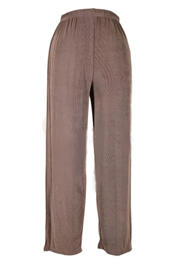Ankle length capri pant - taupe  -  acetate/spandex
