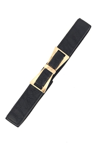 Stretch belt - black with gold bow buckle