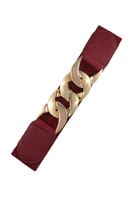 Stretch belt - burgundy with gold chain style buckle