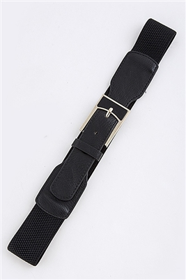 Stretch belt - black - rectangle metal buckle accent