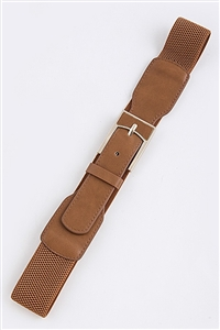 Stretch belt - camel - rectangle metal buckle accent
