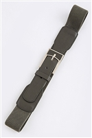 Stretch belt - grey - rectangle metal buckle accent