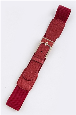 Stretch belt - red - rectangle metal buckle accent