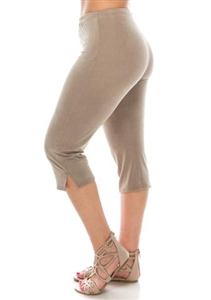 Capri pant - taupe - polyester/spandex
