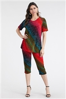 Short Sleeve Capri Set - red/green diagonal tie dye print - poly/spandex