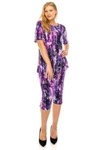 Short Sleeve Capri Set - puple print - poly/spandex