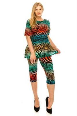 Short Sleeve Capri Set - zebra multi print - poly/spandex