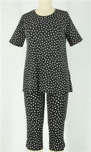 Short Sleeve Capri Set - black/white polka dots - poly/spandex