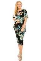 Short Sleeve Capri Set - black/tropical flowers - poly/spandex
