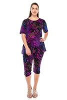 Short Sleeve Capri Set - blue/purple print - poly/spandex