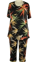 Short Sleeve Capri Set - black with colorful leaves - poly/spandex
