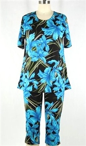 Short Sleeve Capri Set - blue iris - poly/spandex