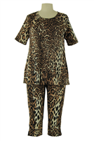 Short Sleeve Capri Set - brown leopard - polyester/spandex