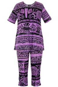 Short Sleeve Capri Set - purple aztec - poly/spandex