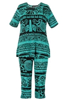Short Sleeve Capri Set - teal aztec - poly/spandex