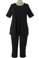 Short Sleeve Capri Set - black/white polka dots 2 - poly/spandex