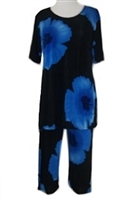 Short Sleeve Capri Set - blue big flower print - poly/spandex