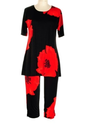 Short Sleeve Capri Set - red big flower print - poly/spandex