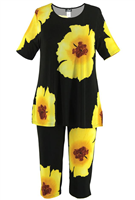 Short Sleeve Capri Set - yellow big flower print - poly/spandex
