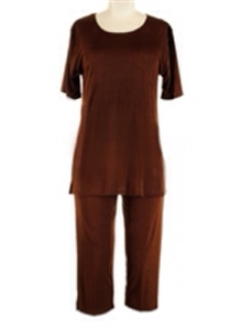Short Sleeve Capri Set - brown - poly/spandex